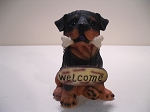 Dog- Bone in Mouth  w/round Welcome sign