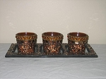 Rust Votive Candle Holder 4 Piece Set