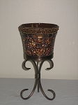 Rust Candle Holder On Metal Stand 9.5