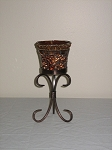 Rust Candle Holder On Metal Stand 8.5