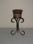 Rust Candle Holder On Metal Stand 7.75