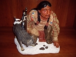 Indian & Coyote Statue