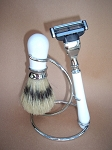 3-pc Shaving Set (White and Chrome)