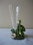 Glass Flower Vase w/Frog