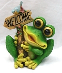 Frog with Welcome Sign