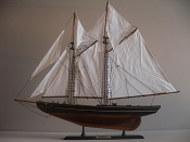 Wood Model Sail Boat (Medium Weathered Blue Nose)29.8in L x 25.8 H x 4.5in W