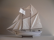 Large Wood Sail Boat.   35in L x 32.5in H x 6in W