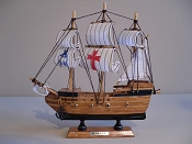 Medium Souvenir Ship W/White Sails & Black Bottom & Red Cross