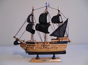 Medium Souvenir Pirate Ship W/Black Sails & Black Bottom