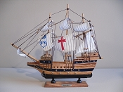Extra Large Souvenir Ship W/White Sails & Black Bottom & Red Cross, 15'L x 3'W x 13.5'H