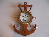 Wall Hang Anchor Ship Wheel Clock (Battery Operated)  19in H x 12.5 L x 1.5 W