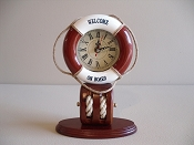 Life Buoy Clock (Battery Operated) L-7in  W-3 1/2in  H-9 1/2in