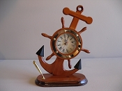 Ship Wheel Anchor Desk Clock W/Pen Holder (Battery Operated) L-9in  W-4 1/2in  H-12in