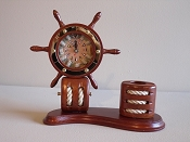 Ship Wheel Clock W/Pen Holder (Battery Operated) L-13 1/2in  W-5in  H-10 1/2in