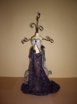 Jewelry Doll Stand- White & Black Sheer Top