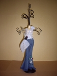 Jewelry Doll Stand- Denim Jeans w/ Sheer Polka Dot