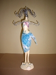 Jewelry Doll Stand- Bathing Suit Blue,Pink & White
