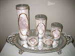 Candles & Mirror Tray 6 Piece Set
