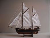 Large Collectible Weathered Sail Boat Black W/Wooden Brown Bottom, L-30 in  x W-6 1/3 in  x H-30 1/2 in