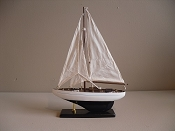 Medium New Look Souvenir Sail Boat White W/ Baby Blue Stripe Dark Blue Bottom, L-10.25in  W-2.5in  H-14in