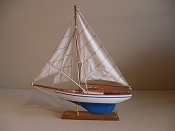 Large Souvenir Sail Boat W/White W/ Light Blue Stripe W/ Light Blue Bottom Bottom, L-12.5in  W-2.5 in  H-14in