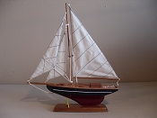 Large Souvenir Sail Boat W/Dark Blue W/White Stripe W/ Dark Red Bottom, L-12.5in  W-2.5 in  H-14in
