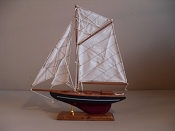 Large Souvenir Sail Boat W/Dark Blue W/White Stripe W/ Dark Red Bottom,L-12.5in  W-2.5in  H-14in