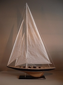 Extra Large Collectible Sail Boat Dark Blue W/ Light Wood Grain Bottom, L-35 in  x W-7 in  x H-51 3/4 in