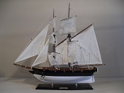 (Dapper)  Medium Collectible Sail Boat Black W/White Bottom,   L-23in  x W-5 1/4 in  x H-23 1/2 in