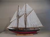 (BlueNose) Medium Collectible Sail Boat Black W/ Red Bottom,   L-33 1/4 in  x W-5 1/3 in  x H-27 1/4 in