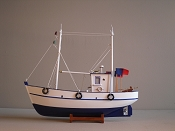 Wood Model Fishing Boat White W/Blue Bottom