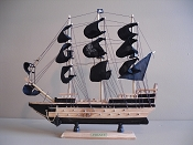 Extra Large Souvenir Pirate Ship, Wood Grain W/Black Sails & Black Stripes, 18'L x 3.5 'W x 17.5'H