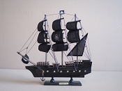 Large Souvenir All Black Pirate Ship 12.5'L x 2.5 'W x 12.5'H