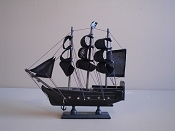 Medium All Black Souvenir Pirate Ship  L-9.5in  W-2.25in  H-9.5in