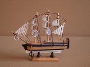 Small Souvenir War Ship Blue W/White Bottom  6'L x 2'W x 6'H