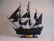 Large Collectible Weathered Black & Weathered Gold Pirate Ship (Black Pearl) L-31.5in   W-6.5in  H-25.5in