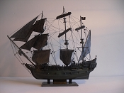 Large Collectible Weathered Grey & Green Pirate Ship (Black Pearl) L-31.5in   W-8in  H-29.5in