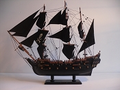 Large Collectible All Black Pirate Ship (Black Pearl) L-31.5in   W-8in  H-29.5in