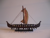 Extra Large Dark Wood Souvenir Viking Ship (Drkkar Sseberg) L-13.5in  W-3in  H-10in