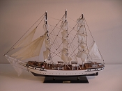 Medium Collectible Sail Boat, White W/Black Bottom,  L-31.5in  W-4.5in  H-30.5in