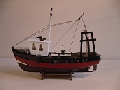 Wood Model Black & Red Lobster Boat, L-17.5in  W-6in  H-14in