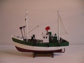 Wood Model Fishing Boat. Green, White W/Red Bottom. L-17.5in  W-6in  H-14in
