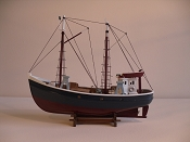 Wood Model Fishing Boat, Dark Blue W/Dark Red Bottom,  L-17.5in  W-6in  H-14in