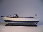 Large Collectible Speed Boat, White W/Gold Stripe, Blue Bottom.  L-20in  W-6in  H-6in