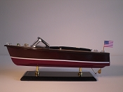 Medium Collectible Speed Boat, Brown W/White Stripe, Dark Red Bottom.  L-14in  W-5in  H-5.5in