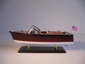 Medium Collectible Speed Boat, Brown W/White Stripe, White Bottom.  L-14in  W-5in  H-5.5in