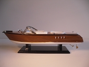 Large Collectible Speed Boat, Wood Brown W/Gold Stripe, White Bottom.  L-20in  W-6in  H-6in