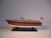 Medium Collectible Speed Boat, Brown W/Red Stripe, White Bottom.  L-14in  W-5in  H-5.5in