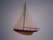 Medium Half Hall Sail Boat, Tan Sails, Red W/Black Stripe, Wood Bottom.  L-16.5in  W-2in  H-20.5in