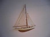 Medium Half Hall Sail Boat, Tan Sails, Cream W/Brown Stripe, Wood Bottom.  L-16.5in  W-2in  H-20.5in